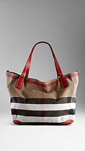 Large Check Canvas Tote Bag