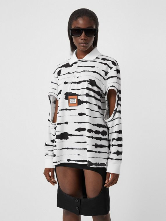Camisa polo de algodão com estampa de aquarela e mangas vazadas (Monocromático)