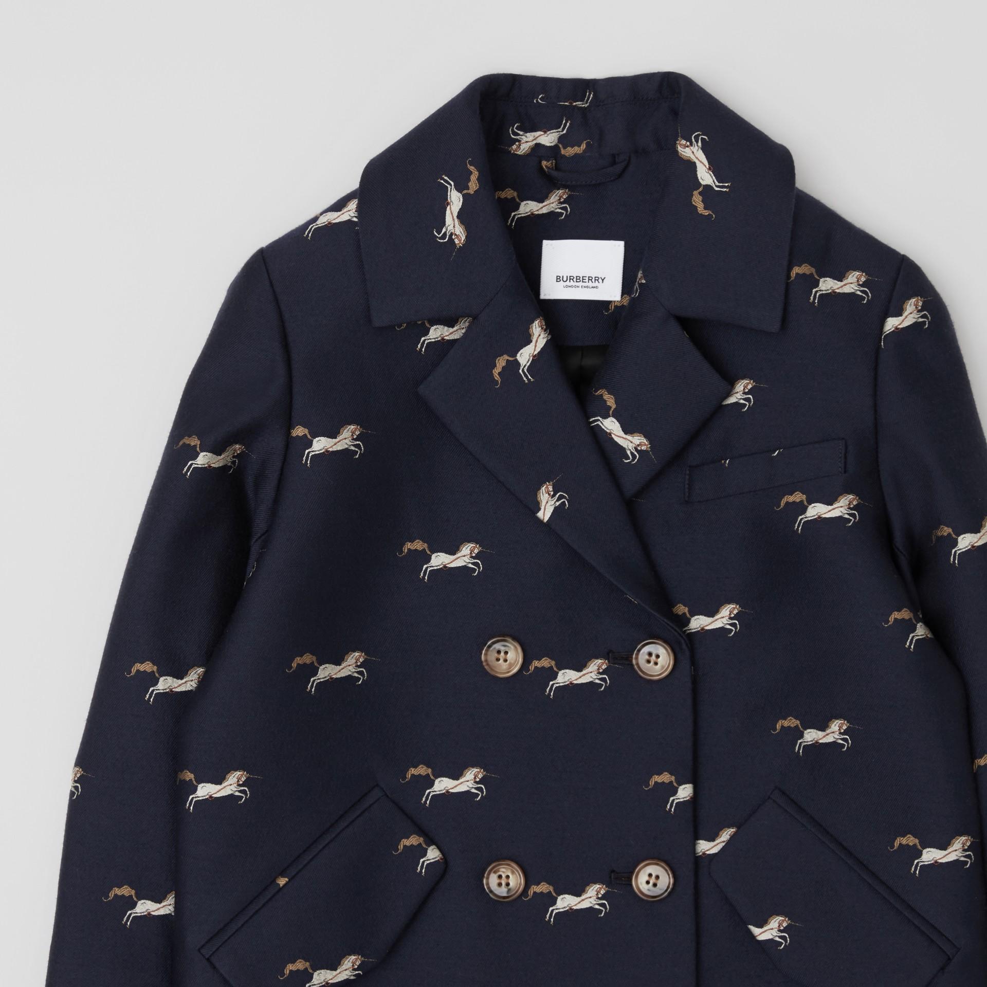 Unicorn Wool Silk Jacquard Tailored Coat in Navy   Burberry United Kingdom - gallery image 4