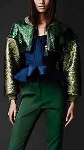 Super Cropped Metallic Bomber