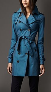 Mid-Length Contrast Trim Cotton Gabardine Trench Coat