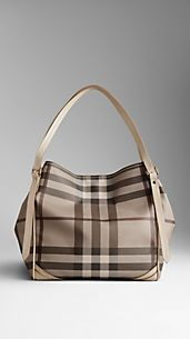 Small Smoked Check Saddlestitch Tote Bag