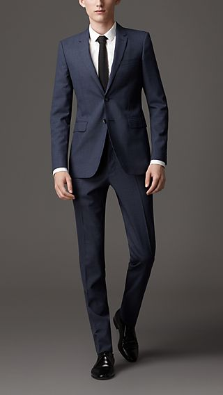 Slim Fit Wool Microcheck Suit