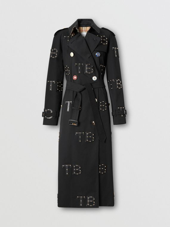 Trench coat largo de corte Waterloo (Negro)