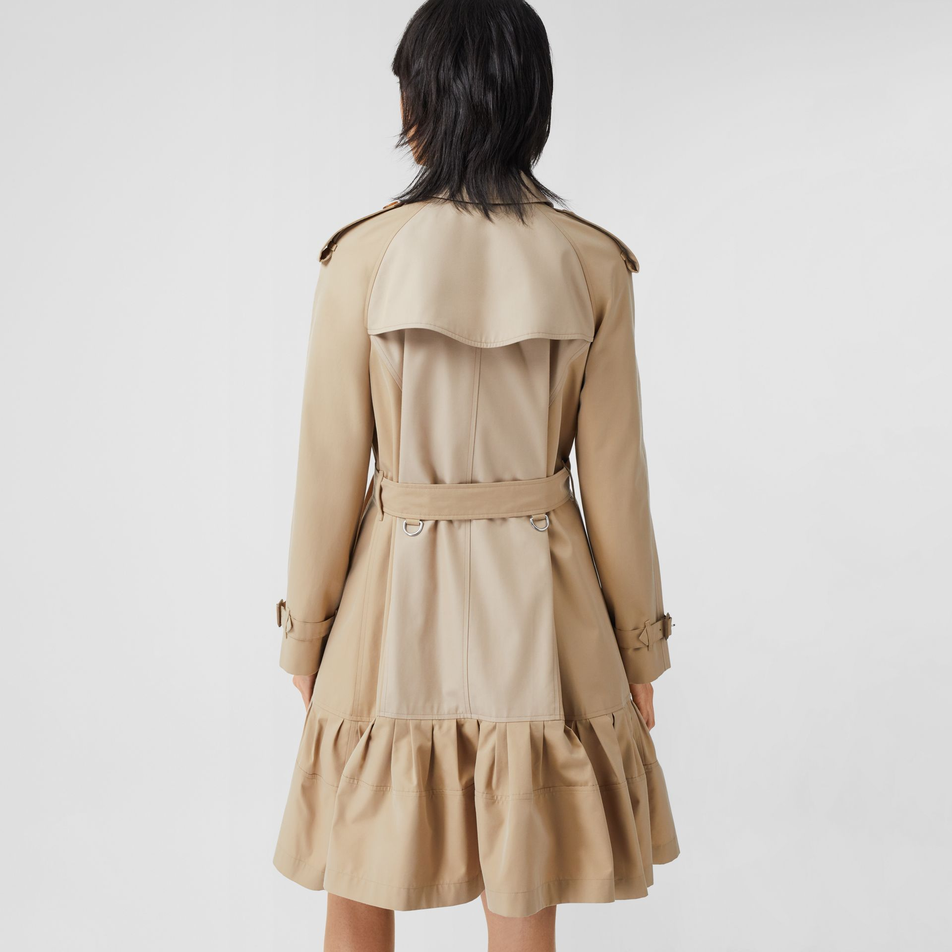 Gathered Detail Cotton Gabardine Trench Coat in Light Sand - Women | Burberry - gallery image 1