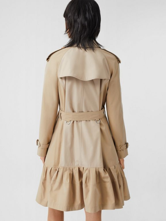 Gathered Detail Cotton Gabardine Trench Coat in Light Sand - Women | Burberry - cell image 1