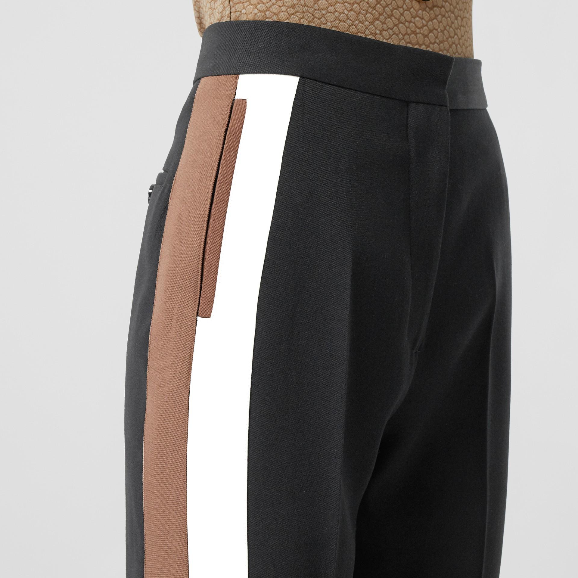 Stripe Detail Wool Tailored Trousers in Black - Women | Burberry United Kingdom - gallery image 5
