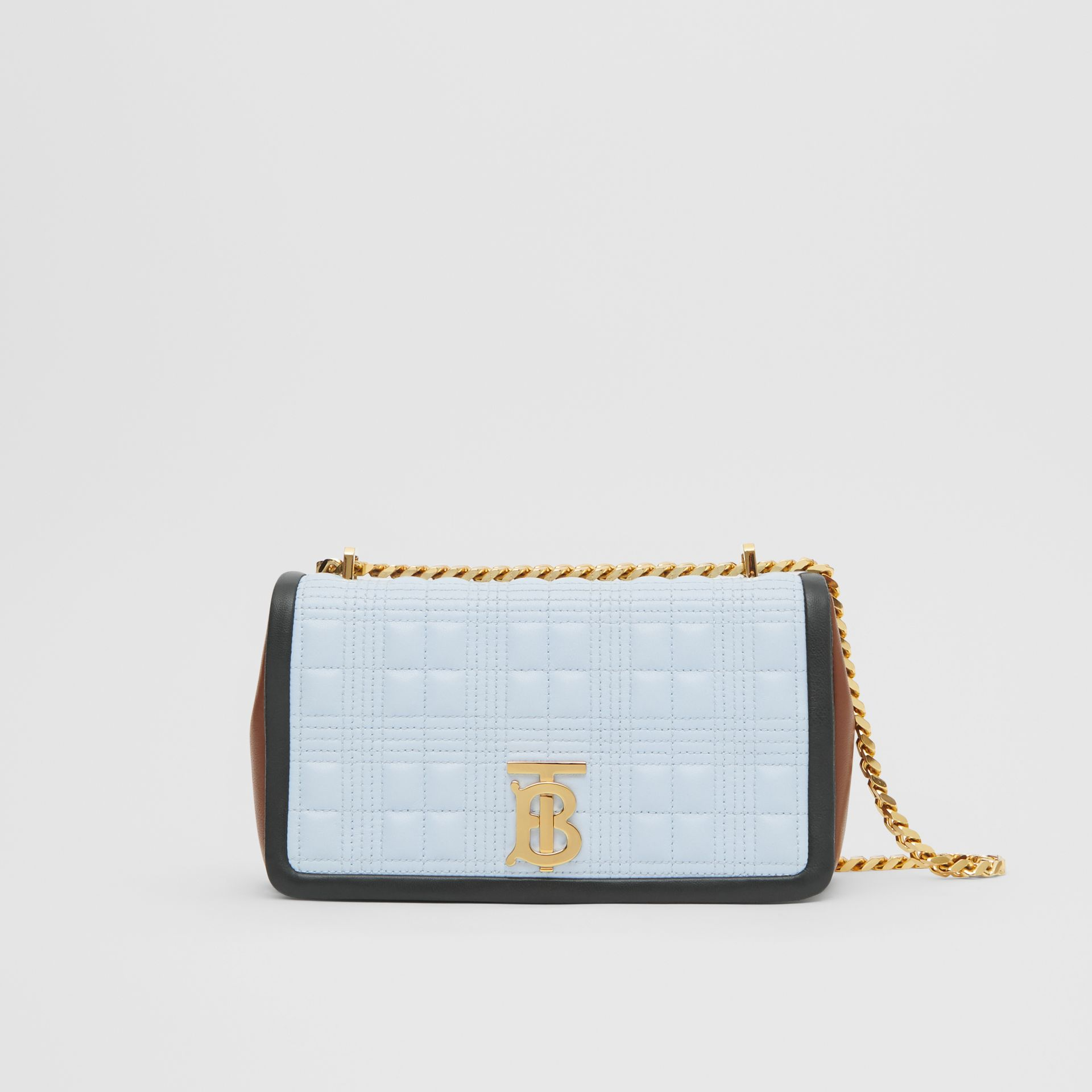 Small Quilted Tri-tone Lambskin Lola Bag in Pale Blue/dark Pine - Women | Burberry - gallery image 0