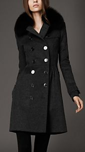 Mid-Length Wool Cashmere Fur Collar Trench Coat