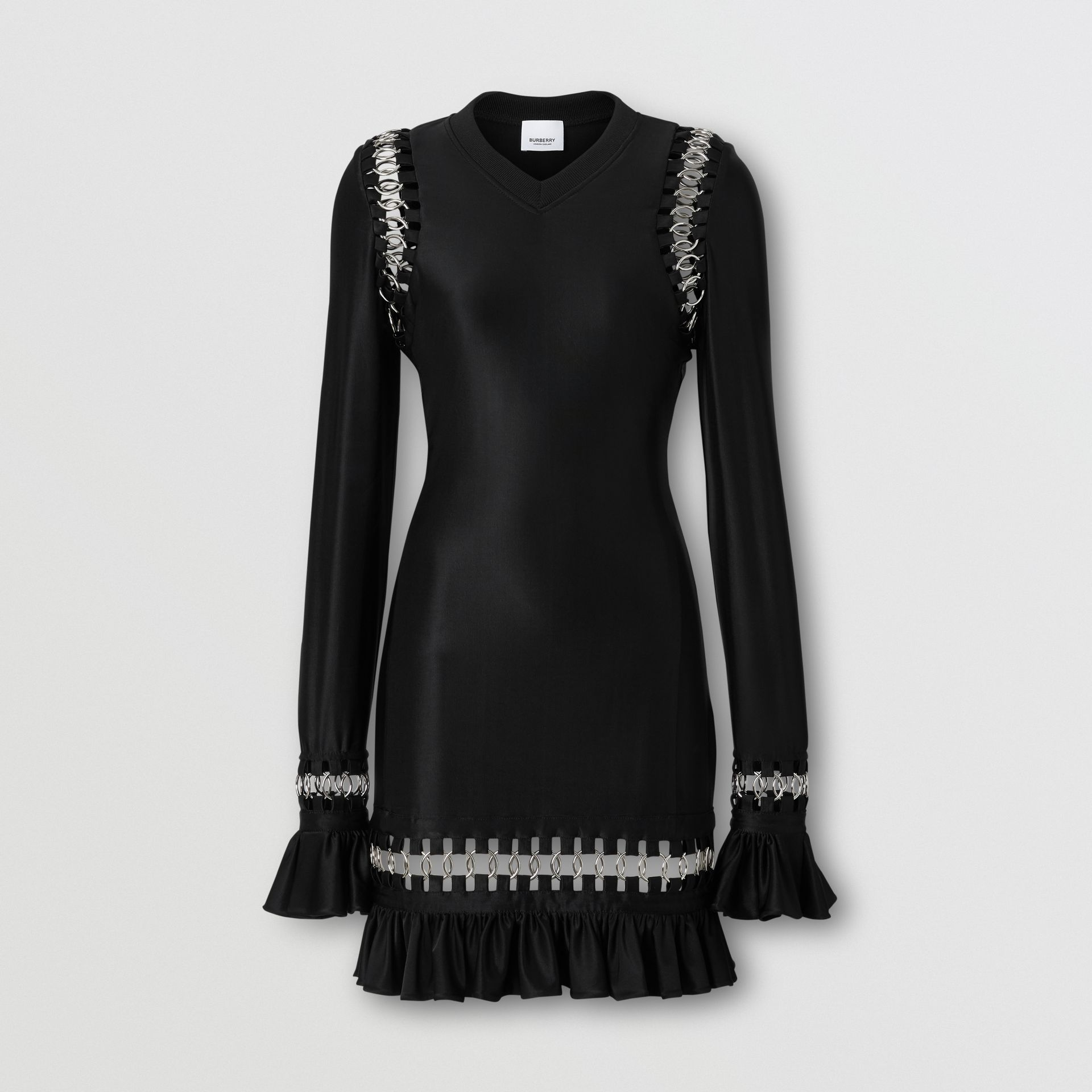 Ring-pierced Stretch Jersey Mini Dress in Black - Women | Burberry United Kingdom - gallery image 3