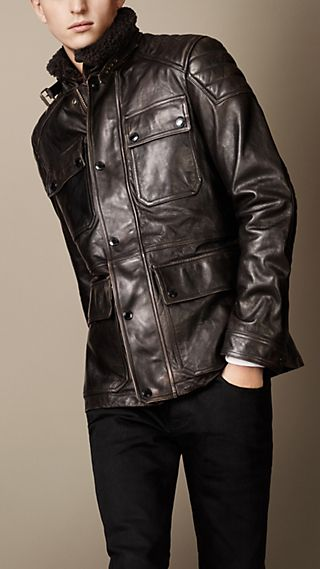 Leather Biker Field Jacket