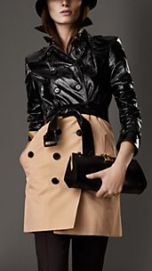 Mid-Length Patent Leather Gabardine Trench Coat