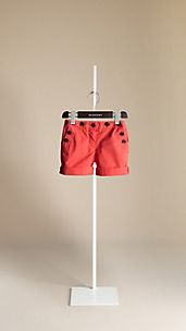 Cotton Button Detail Shorts