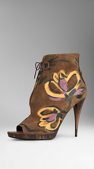 Hand-Painted Suede Ankle Boots