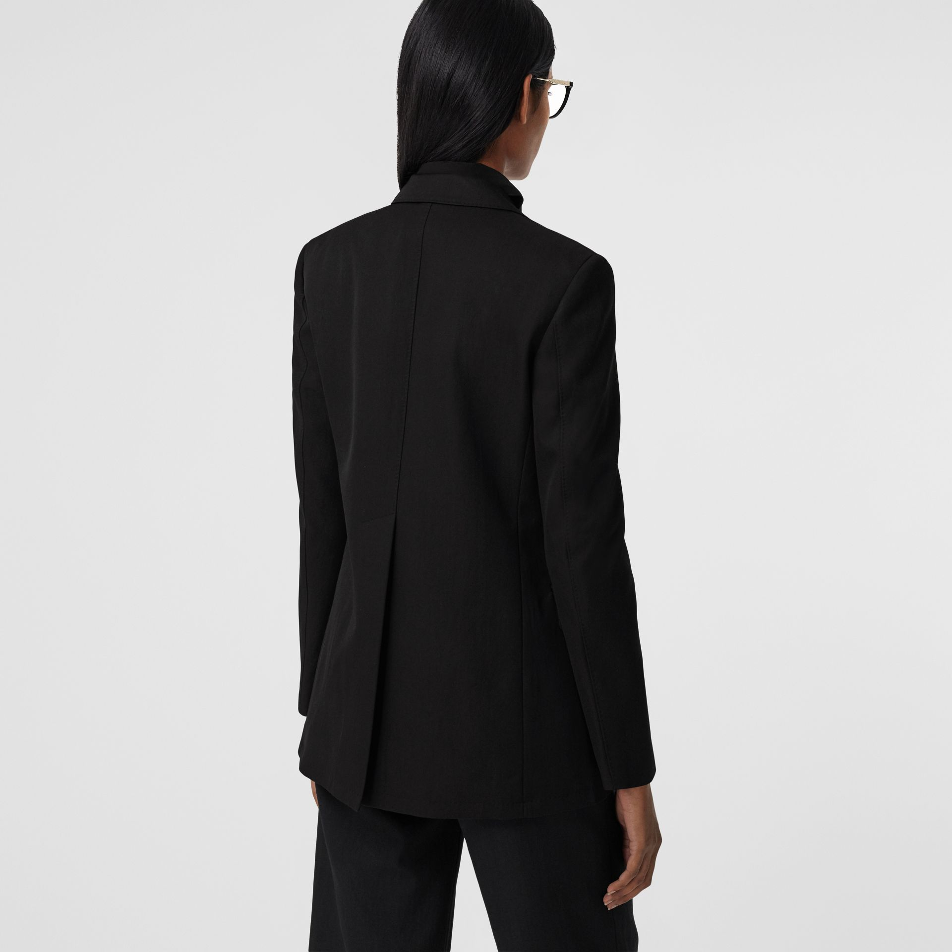 Technical Wool Gabardine Tailored Jacket in Black - Women | Burberry - gallery image 2