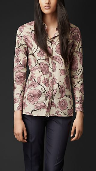Floral Print Cotton Silk Shirt