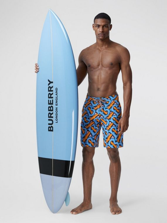 Monogram Print Surfboard in Pale Azure