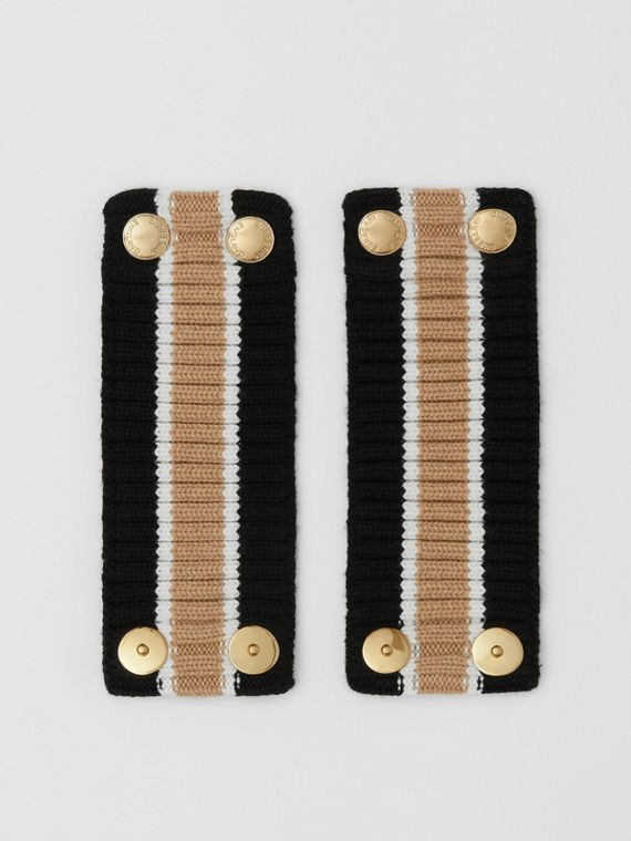 Rib Knit Technical Wool Cuffs in Black/brown