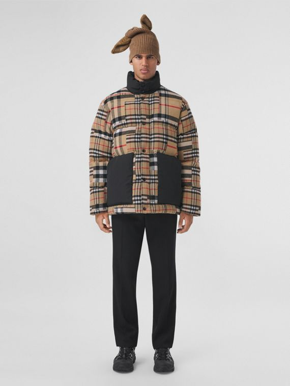Patchwork Check Down-filled Wool Jacket in Archive Beige