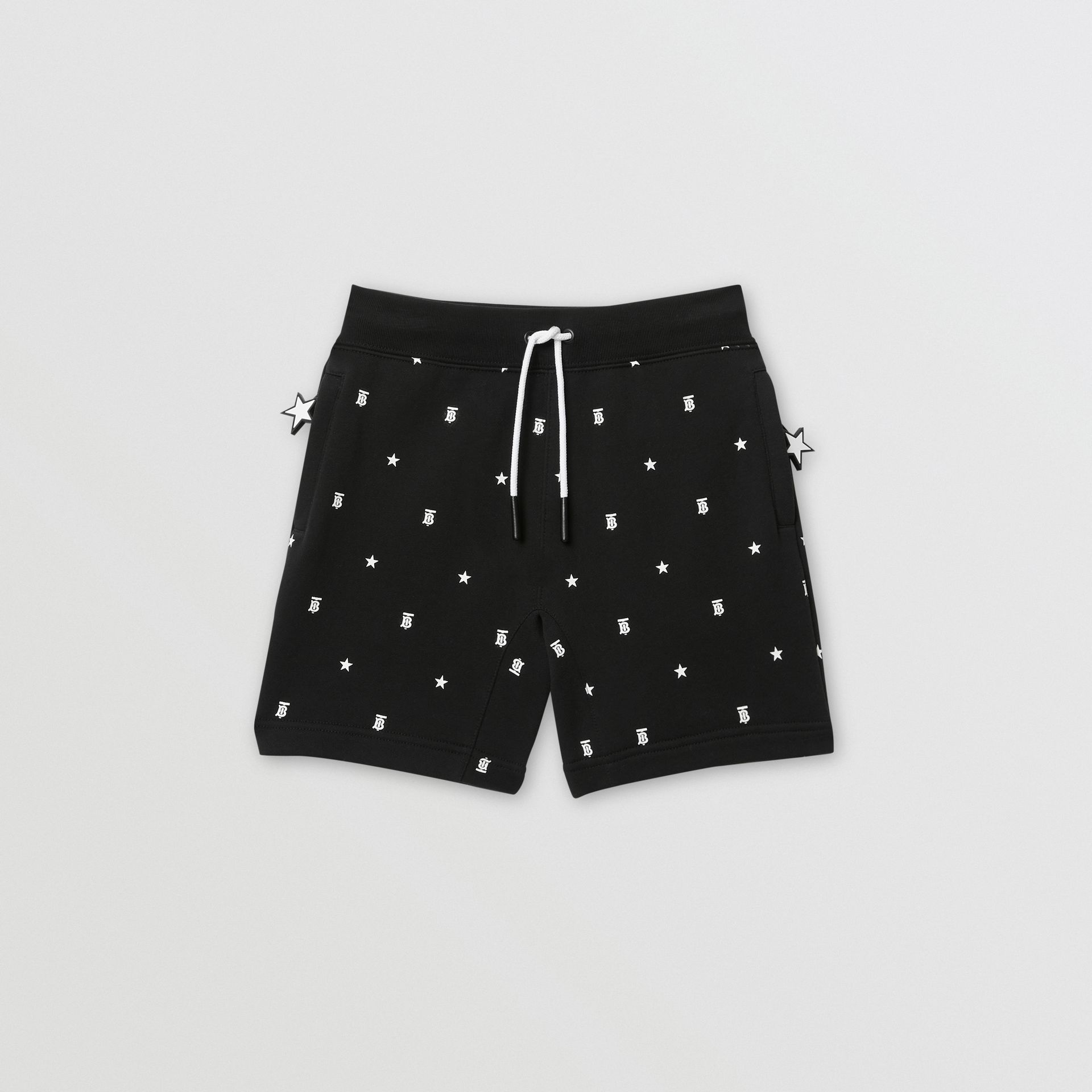 Star and Monogram Motif Cotton Shorts in Black | Burberry - gallery image 0