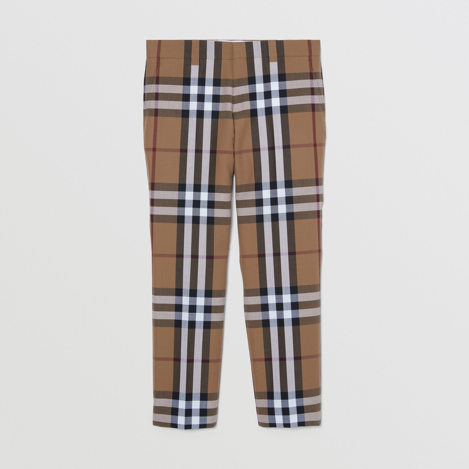 Check Wool Cropped Tailored Trousers in Birch Brown - Men | Burberry - gallery image 0