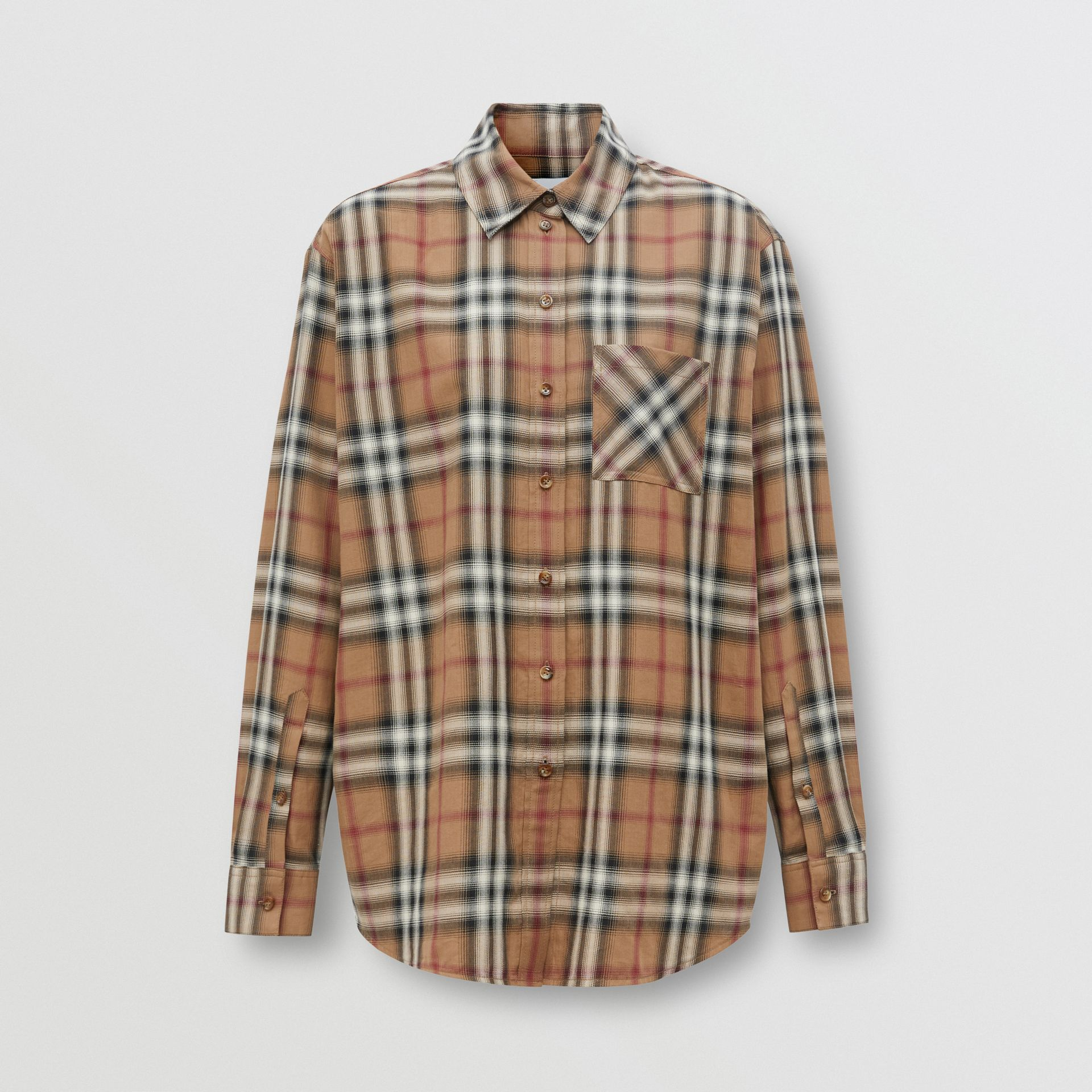 Ombré Check Cotton Twill Oversized Shirt in Birch Brown - Women | Burberry - gallery image 3