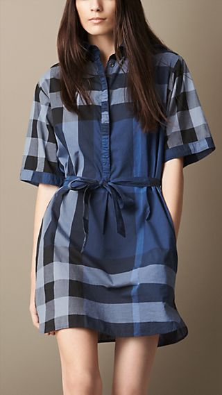 Tie-Waist Check Shirt Dress