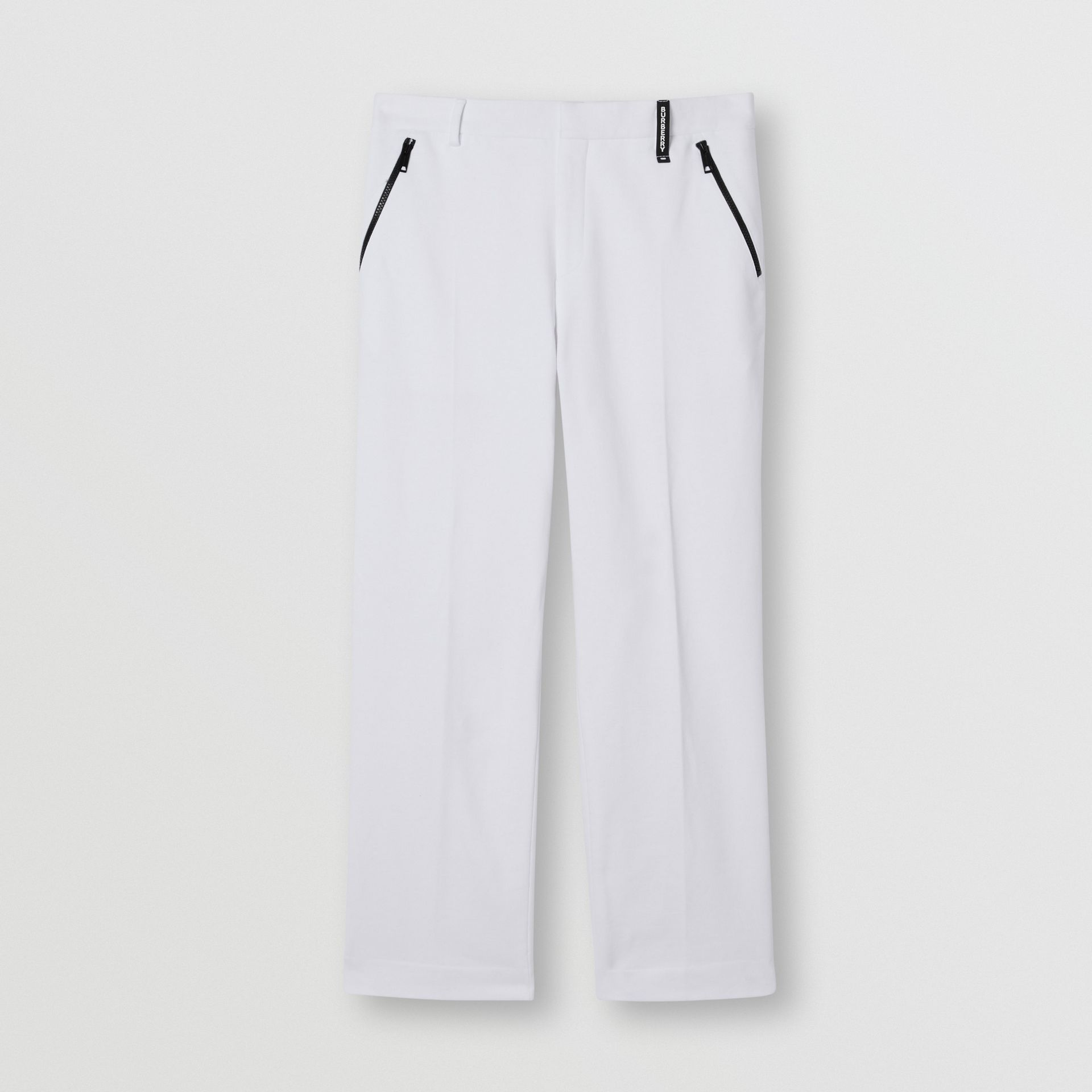Cotton Jersey Wide-leg Tailored Trousers in Optic White | Burberry Australia - gallery image 3
