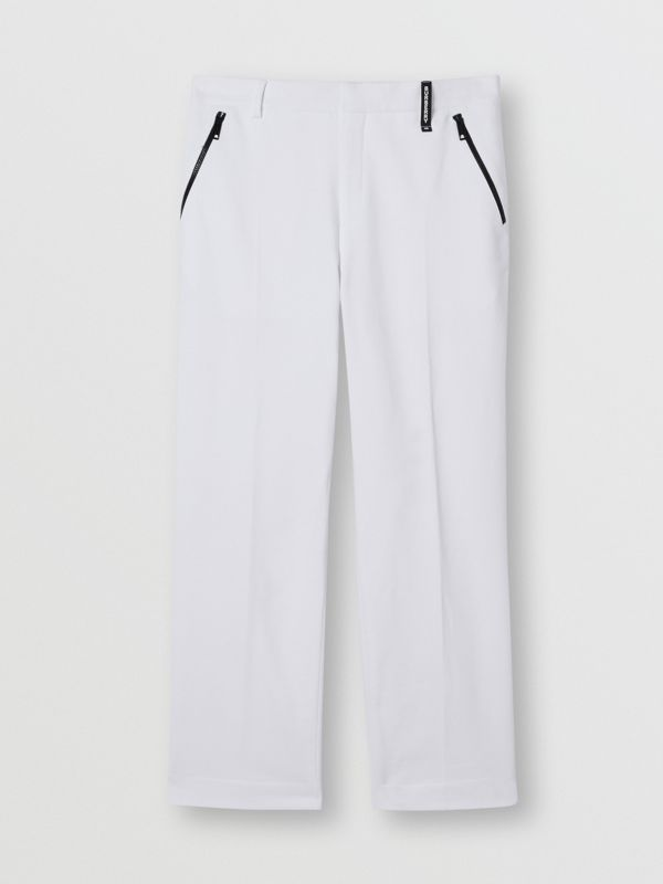 Cotton Jersey Wide-leg Tailored Trousers in Optic White | Burberry Australia - cell image 3