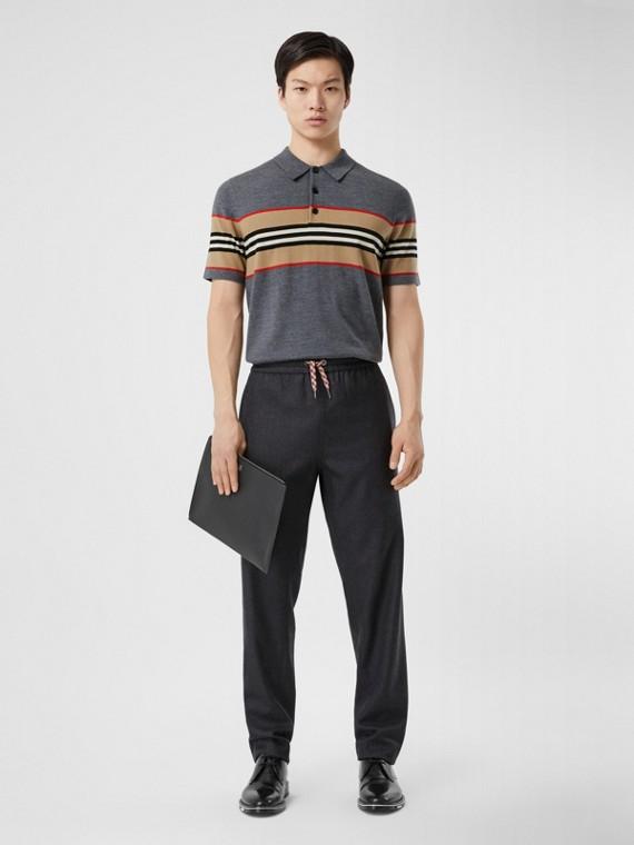 Icon Stripe Detail Merino Wool Polo Shirt in Dark Grey Melange