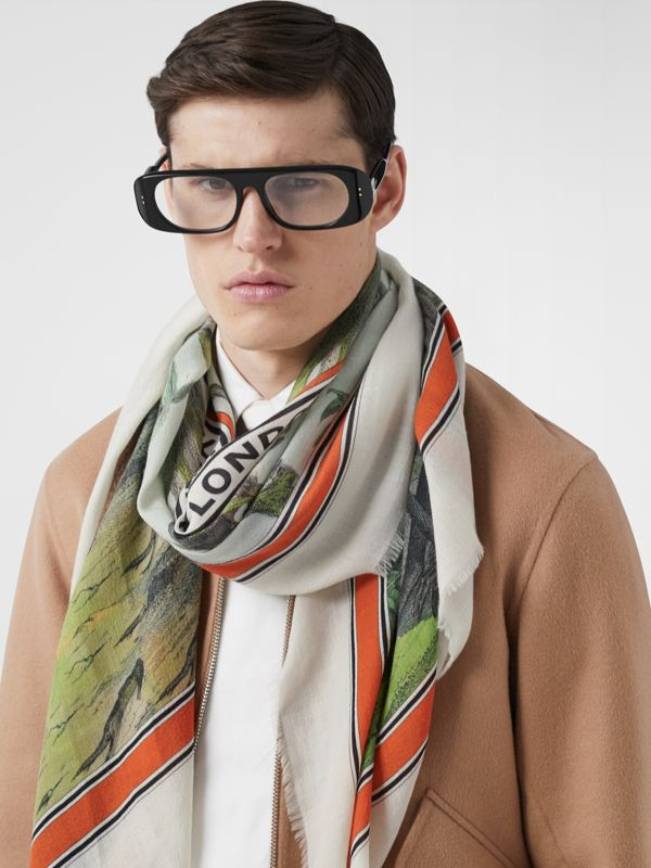 Monkey Print Lightweight Cashmere Scarf in Opal Green | Burberry - cell image 3