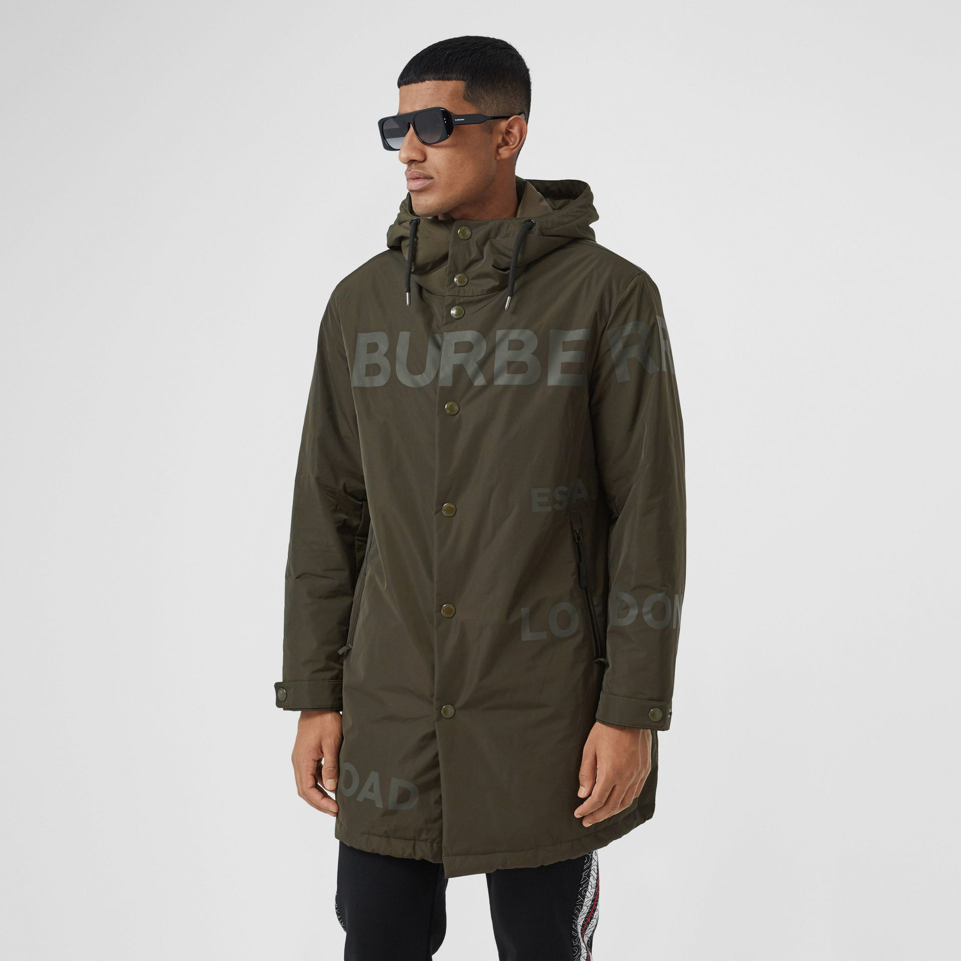 Horseferry Print Shape-memory Taffeta Hooded Coat in Khaki - Men | Burberry - gallery image 6