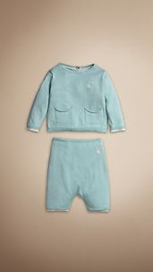 Cotton Knit Top and Trouser Set