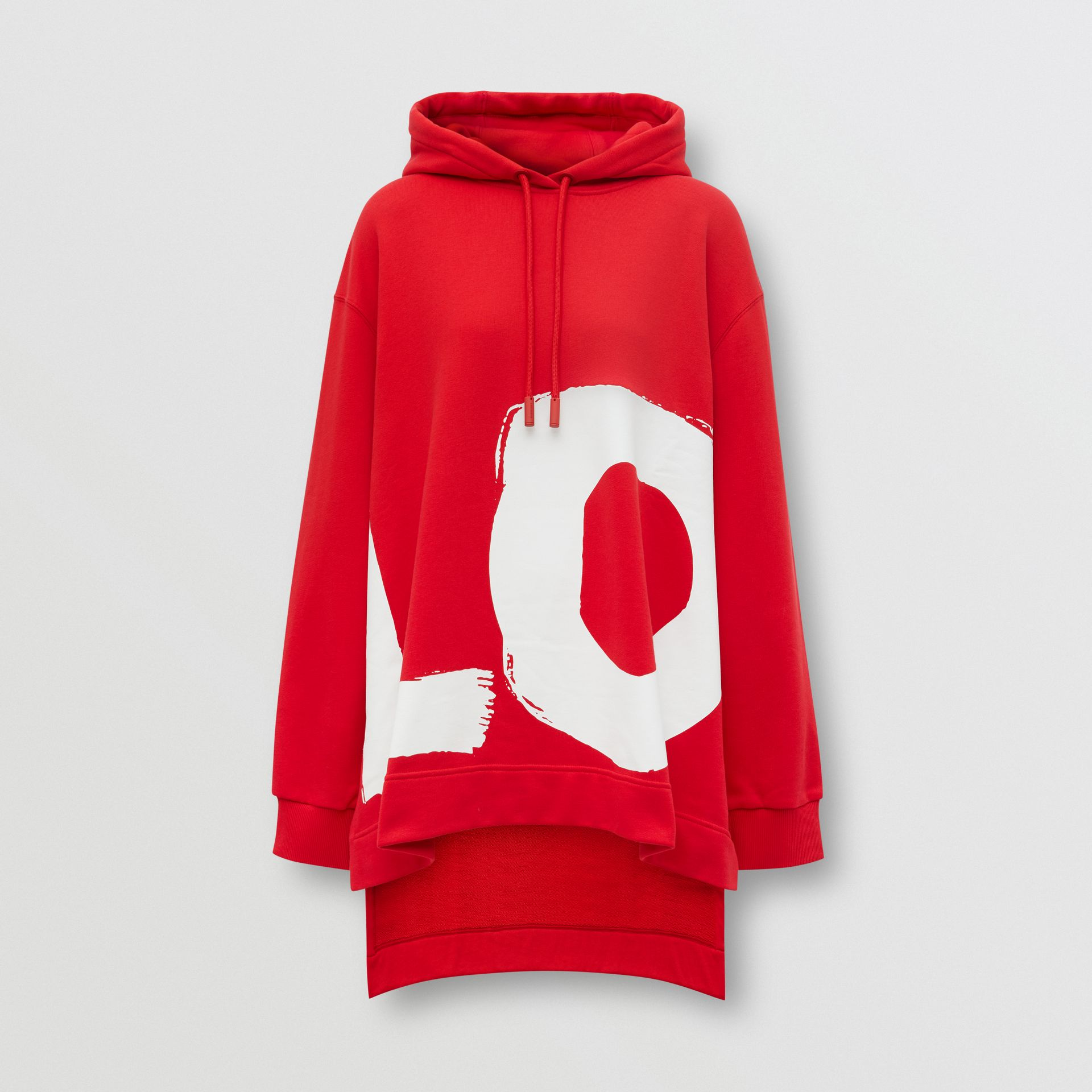 Love Print Cotton Oversized Hoodie in Bright Red - Women | Burberry - gallery image 3
