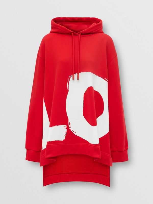 Love Print Cotton Oversized Hoodie in Bright Red - Women | Burberry - cell image 3