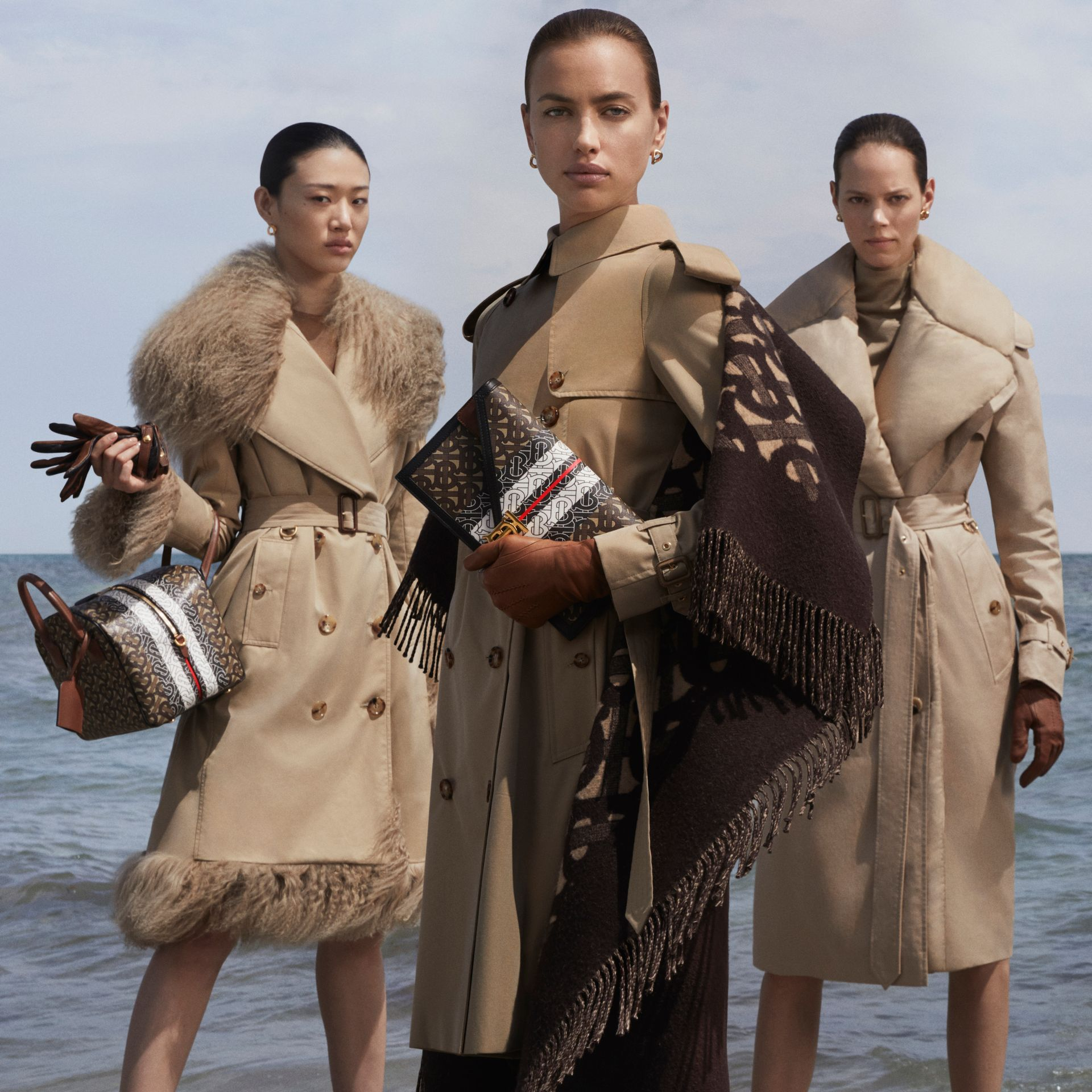 Detachable Collar Cotton Gabardine Trench Coat in Ecru - Women | Burberry - gallery image 1