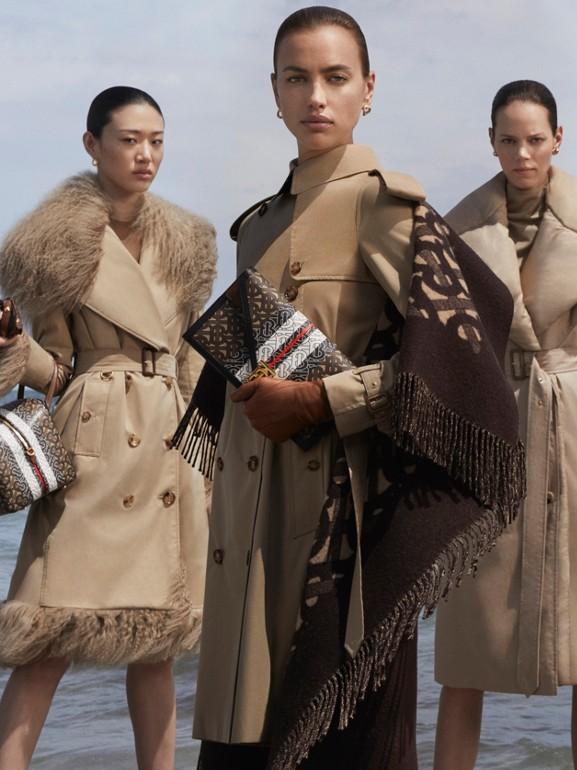 Detachable Collar Cotton Gabardine Trench Coat in Ecru - Women | Burberry - cell image 1