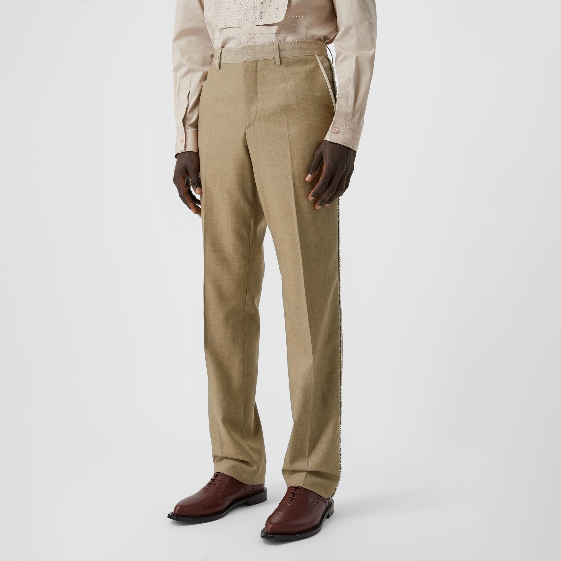 English Fit Crystal Embroidered Wool Cashmere Trousers in Pecan Melange | Burberry United Kingdom - gallery image 6
