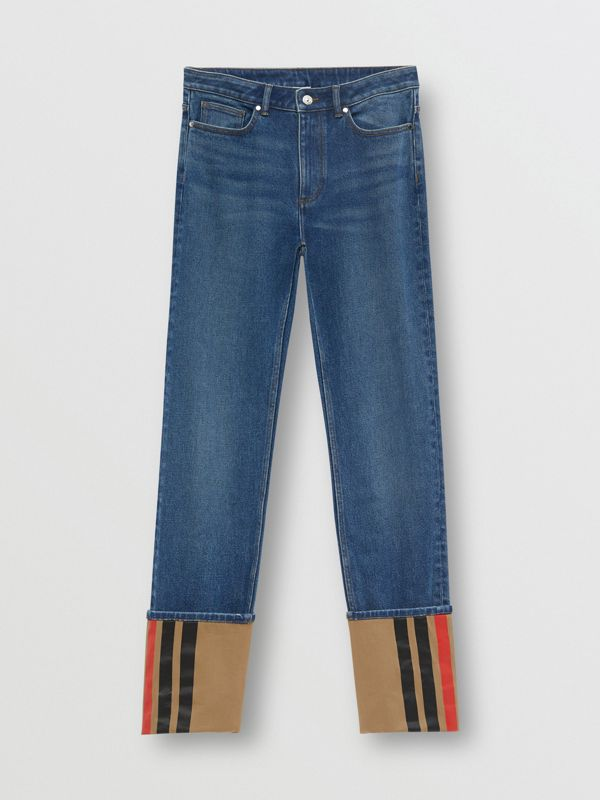 Straight Fit Striped Cuff Washed Jeans in Mid Indigo Blue - Women | Burberry - cell image 3