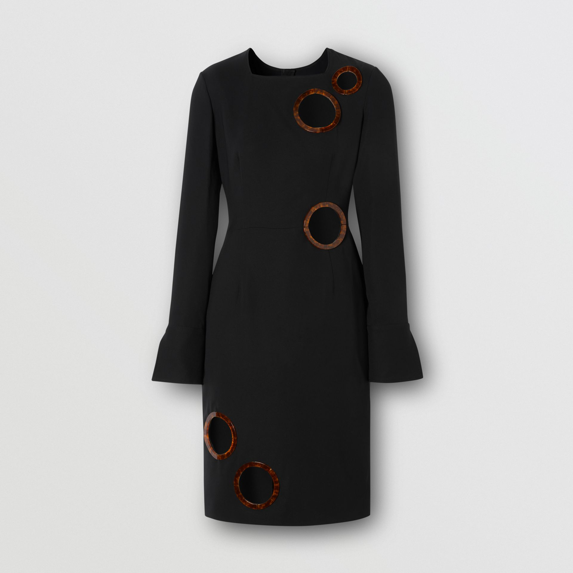 Cut-out Detail Stretch Silk Crepe Shift Dress in Black - Women | Burberry - gallery image 3