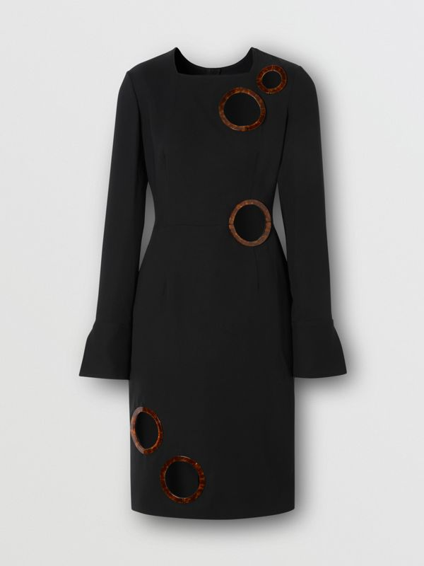 Cut-out Detail Stretch Silk Crepe Shift Dress in Black - Women | Burberry - cell image 3