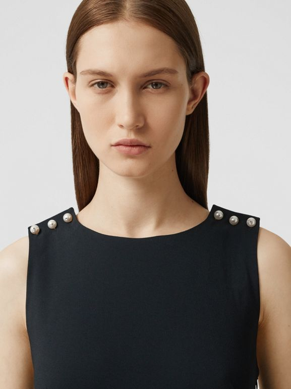 Glass Pearl Detail Satin Crepe Shift Dress in Black - Women | Burberry - cell image 1