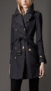 Mid-Length Cotton Gabardine Revere Collar Trench Coat