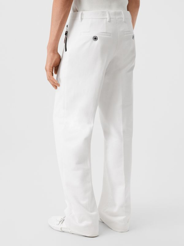 Cotton Jersey Wide-leg Tailored Trousers in Optic White | Burberry Australia - cell image 2