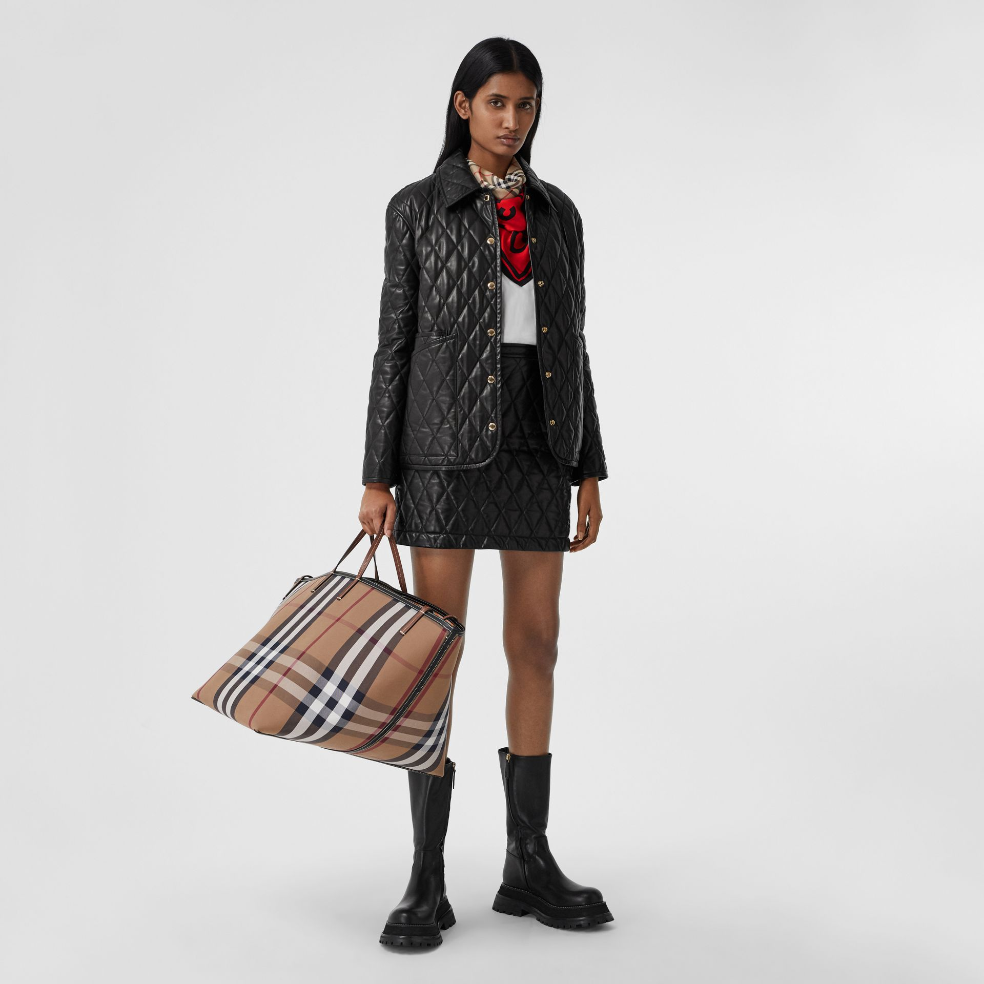 Montage Print Silk Square Scarf in Archive Beige/red/pink | Burberry Canada - gallery image 5
