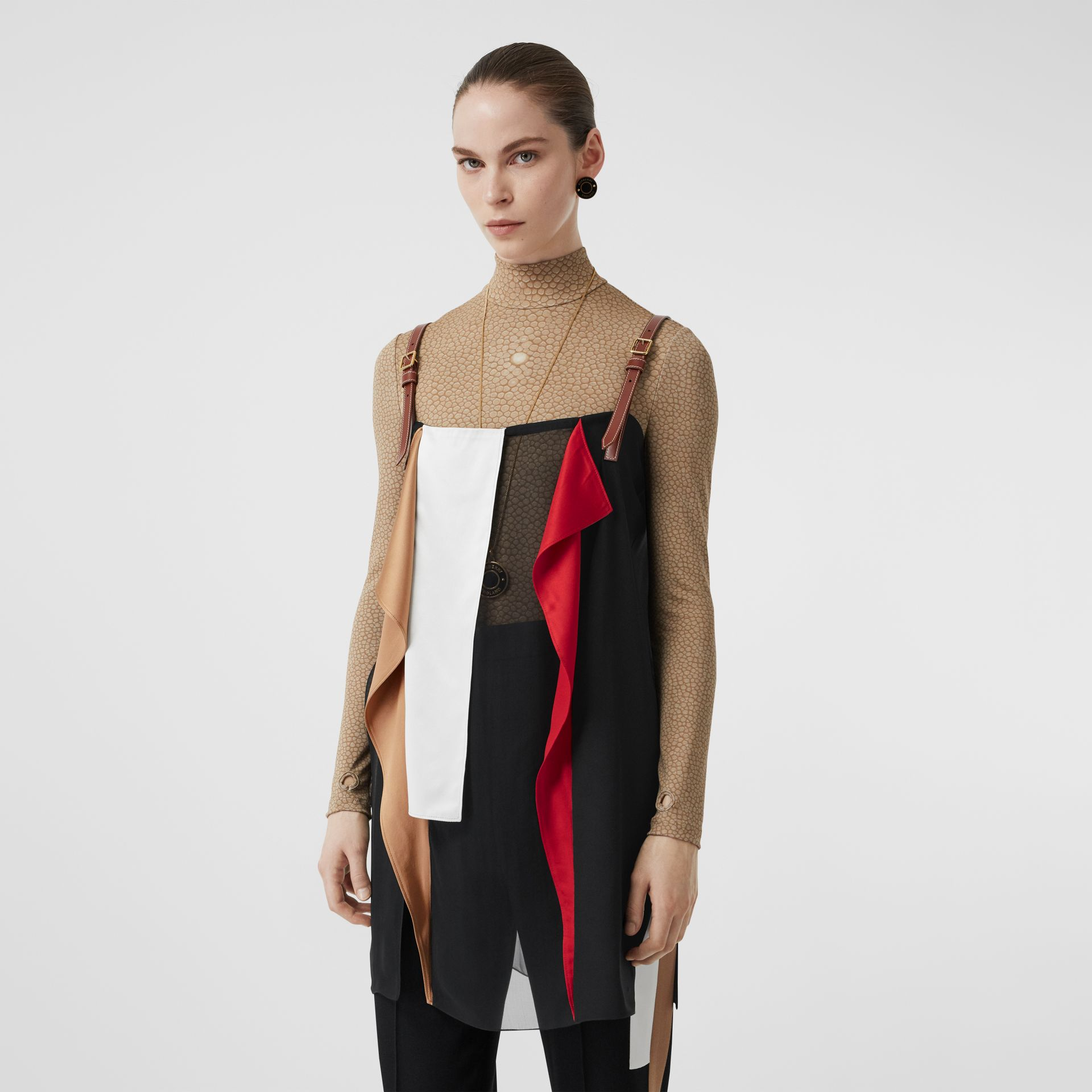 Leather Detail Colour Block Silk Top in Black - Women | Burberry - gallery image 4