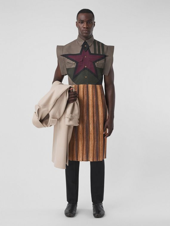 Geometric Print Cotton Pleated Shirt Dress in Khaki