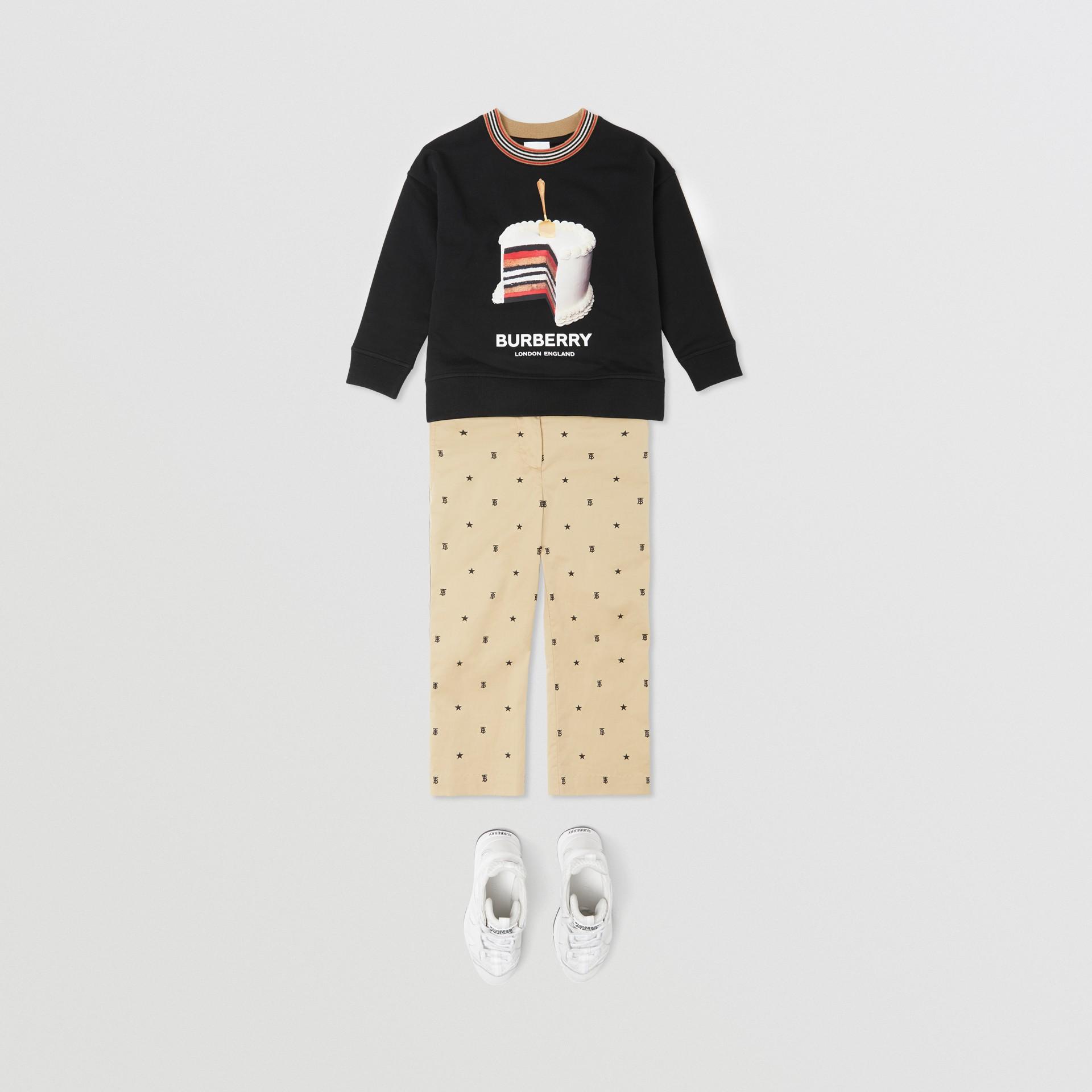 Cake Print Cotton Sweatshirt in Black | Burberry - gallery image 2
