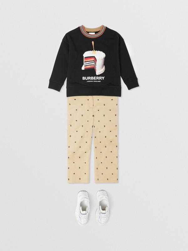 Cake Print Cotton Sweatshirt in Black | Burberry - cell image 2
