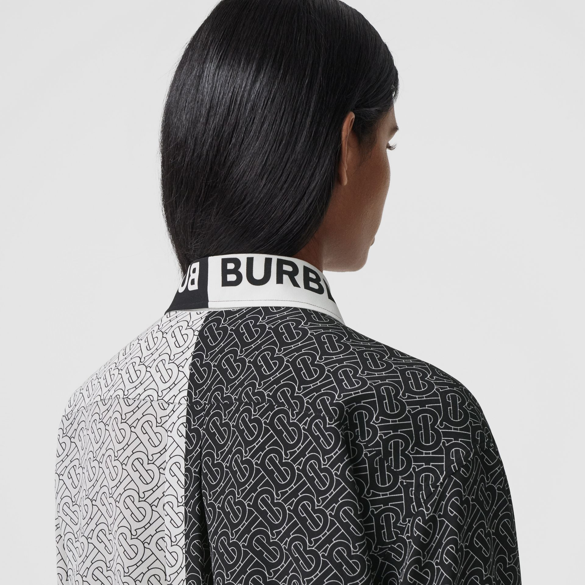 Unicorn Print Silk Crepe De Chine Shirt in Black - Women | Burberry - gallery image 1